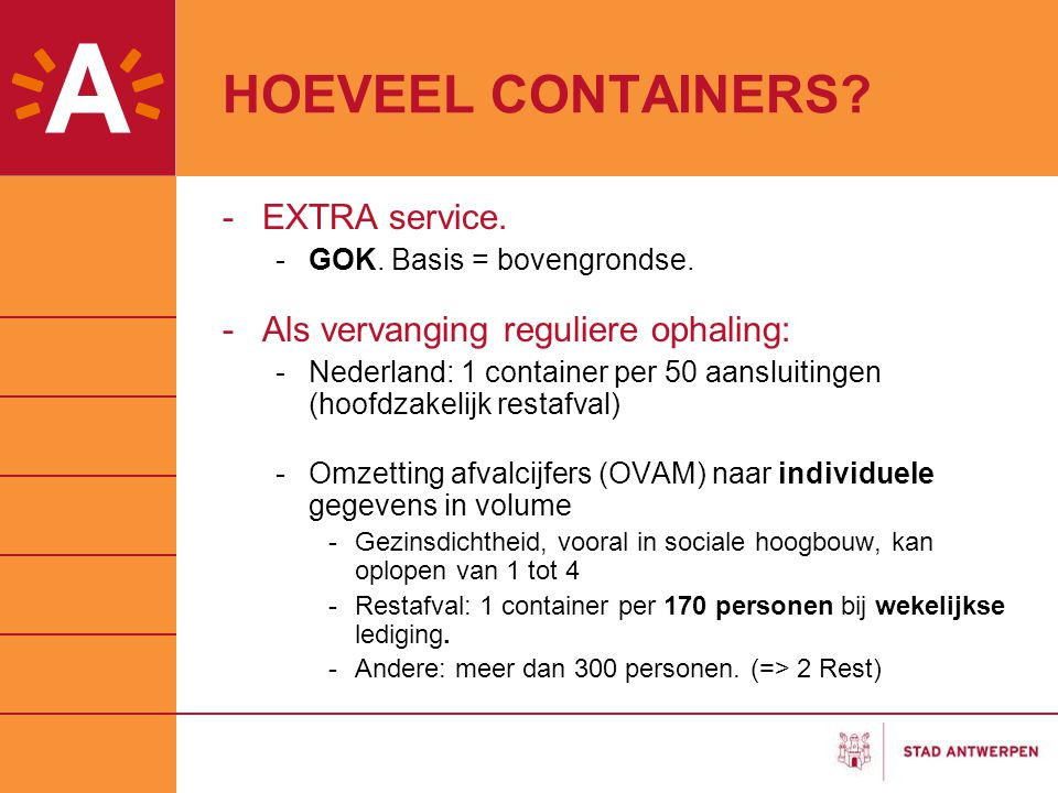 HOEVEEL CONTAINERS EXTRA service. Als vervanging reguliere ophaling: