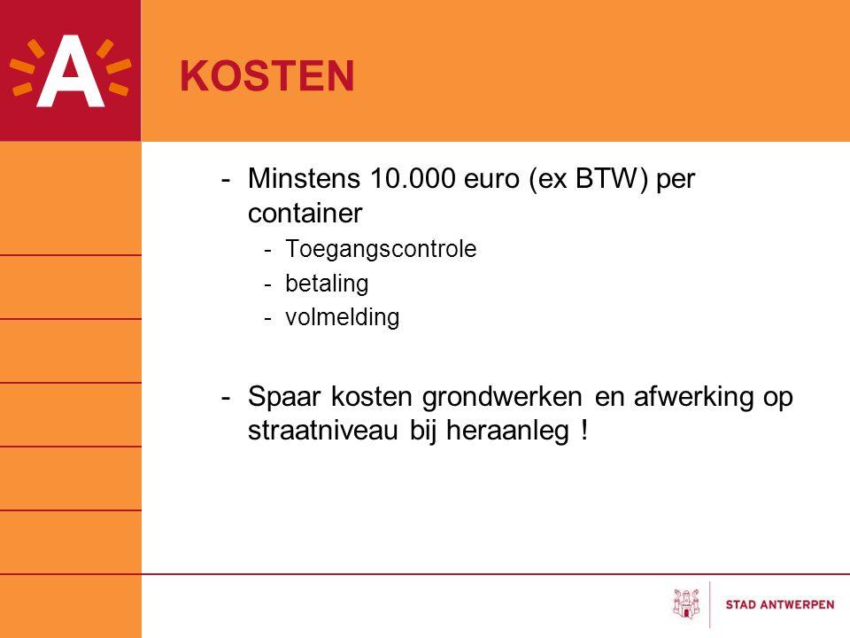 KOSTEN Minstens 10.000 euro (ex BTW) per container