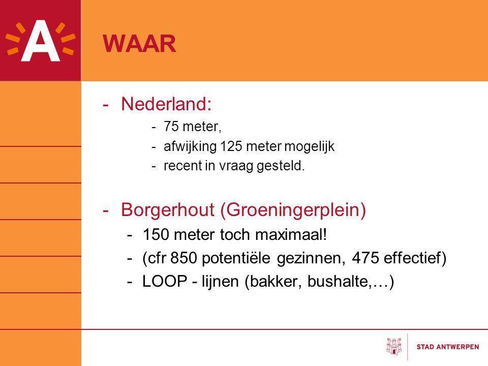 WAAR Nederland: Borgerhout (Groeningerplein) 150 meter toch maximaal!