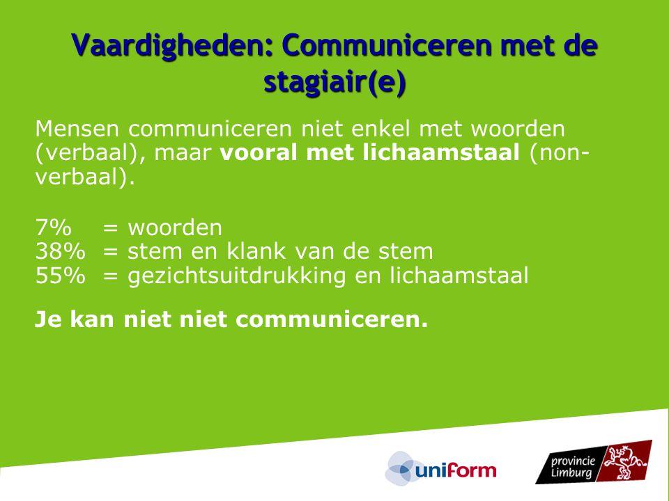 Vaardigheden: Communiceren met de stagiair(e)