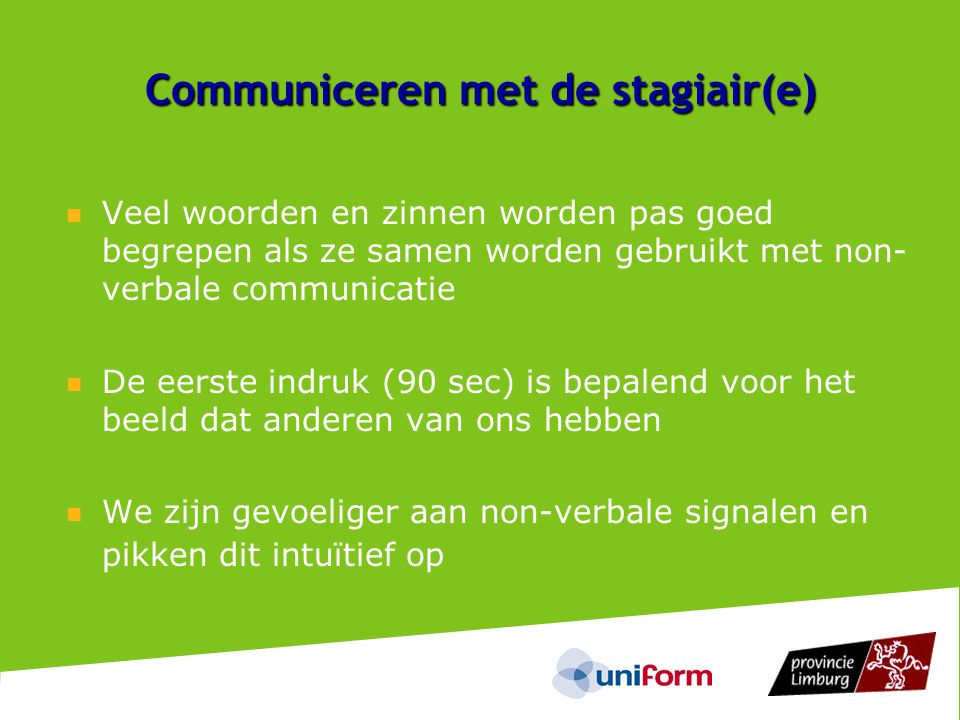 Communiceren met de stagiair(e)