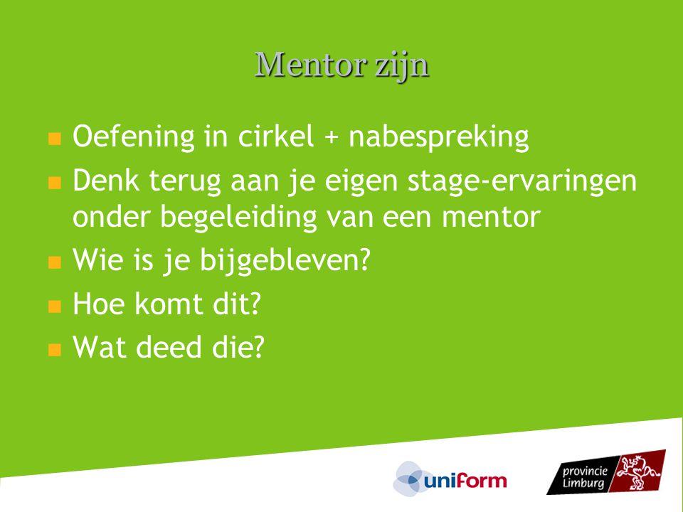 Mentor zijn Oefening in cirkel + nabespreking