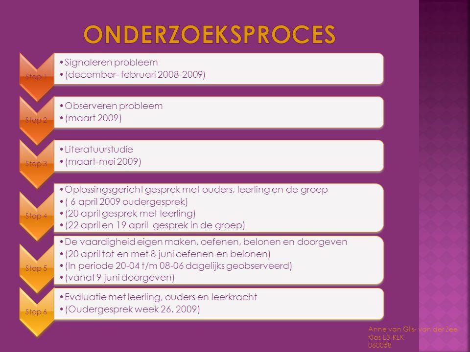 Onderzoeksproces Signaleren probleem (december- februari 2008-2009)