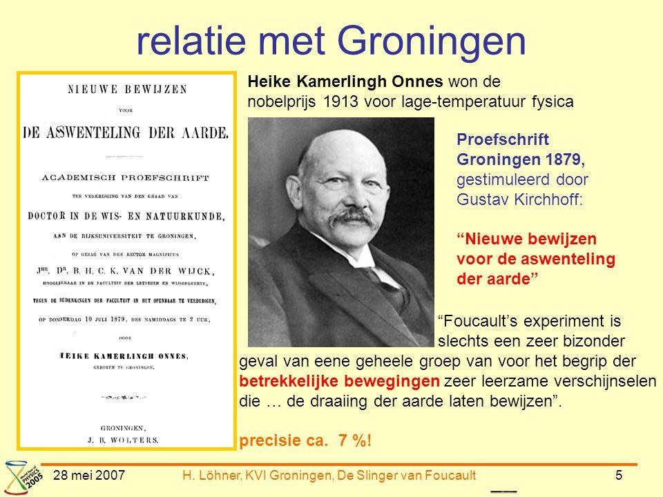 H. Löhner, KVI Groningen, De Slinger van Foucault