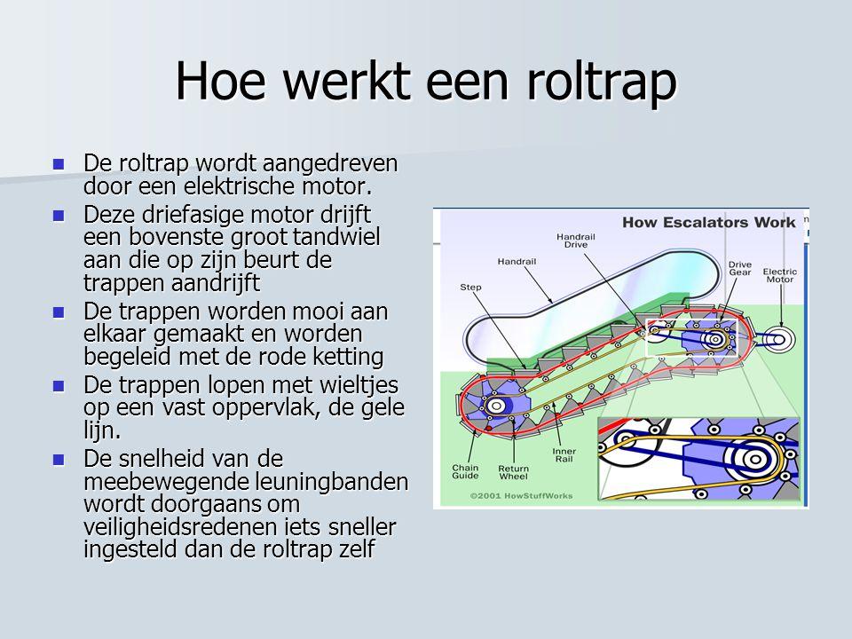 Hoe werkt een roltrap De roltrap wordt aangedreven door een elektrische motor.