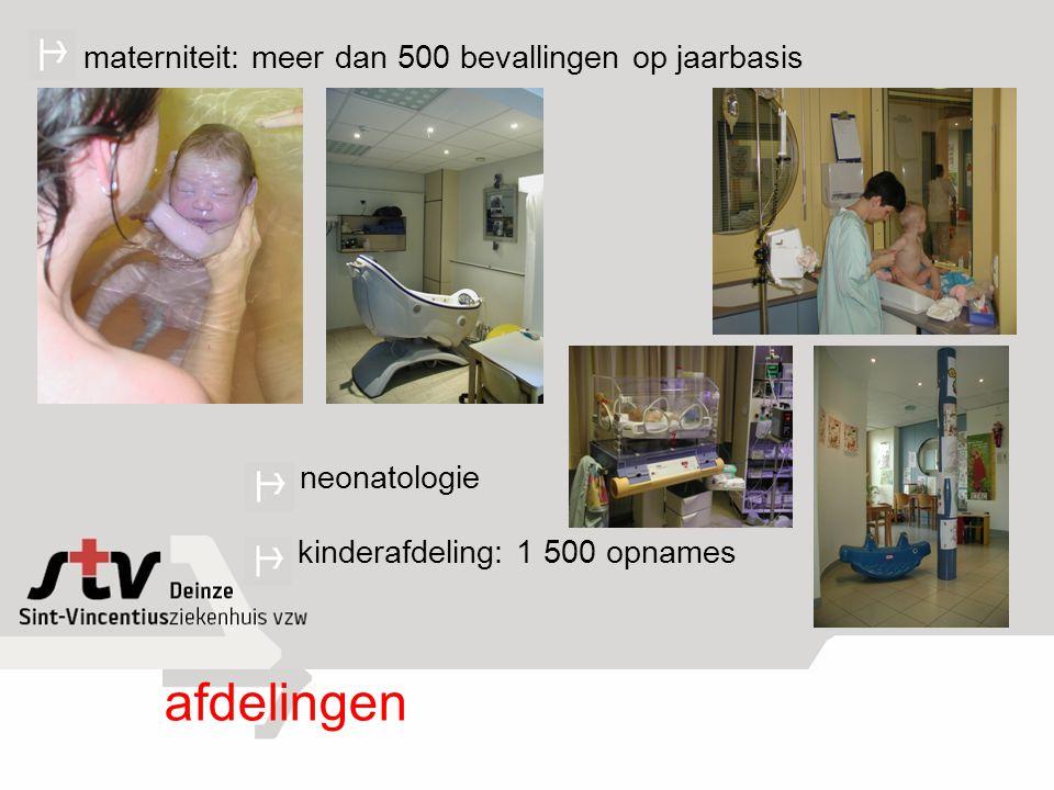 afdelingen materniteit: meer dan 500 bevallingen op jaarbasis