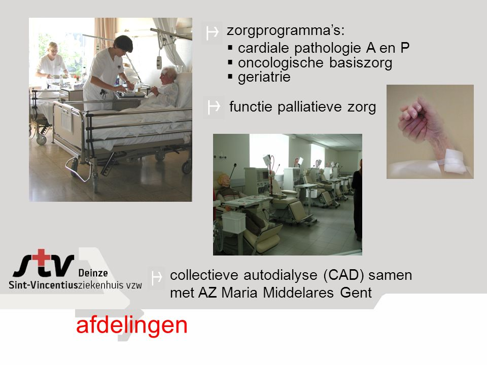 afdelingen zorgprogramma's: cardiale pathologie A en P