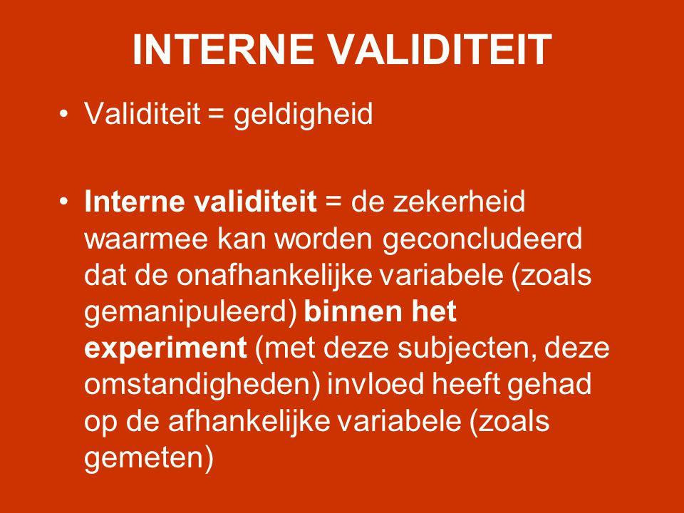 INTERNE VALIDITEIT Validiteit = geldigheid