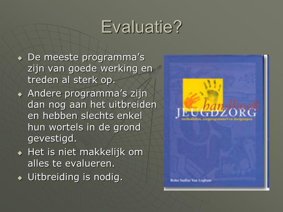 Evaluatie De meeste programma's zijn van goede werking en treden al sterk op.