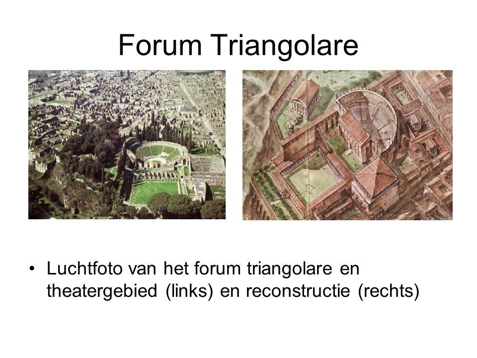Forum Triangolare Luchtfoto van het forum triangolare en theatergebied (links) en reconstructie (rechts)