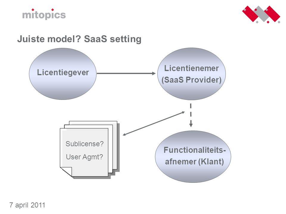 Juiste model SaaS setting