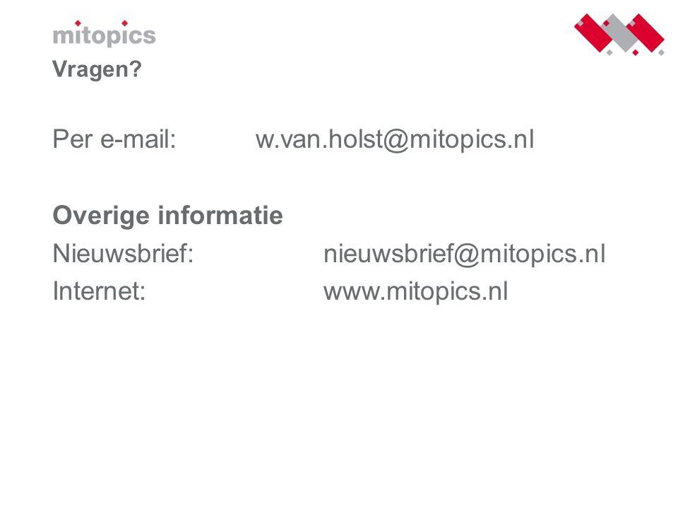 Per e-mail: w.van.holst@mitopics.nl Overige informatie