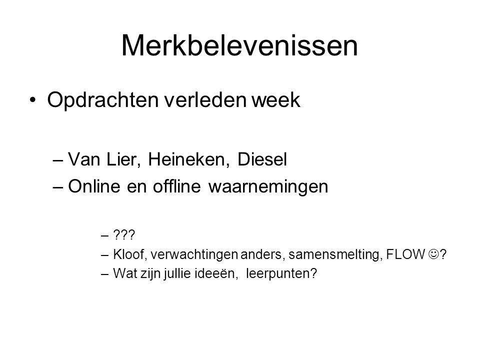 Merkbelevenissen Opdrachten verleden week Van Lier, Heineken, Diesel