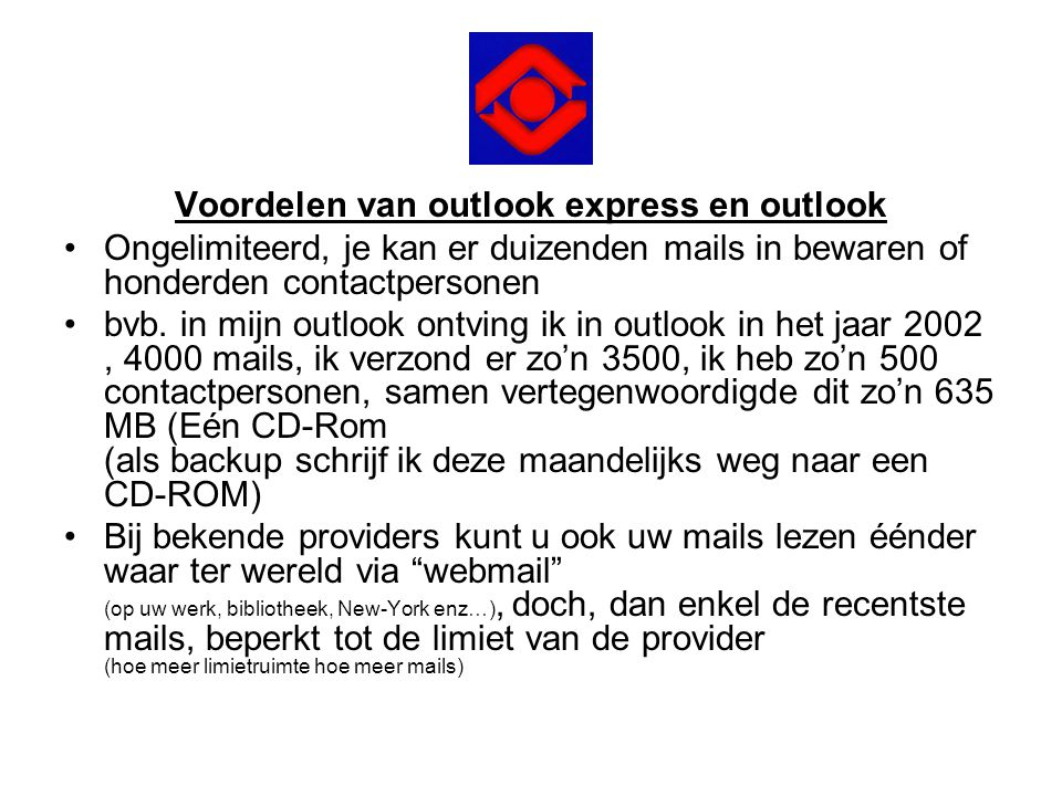 Voordelen van outlook express en outlook