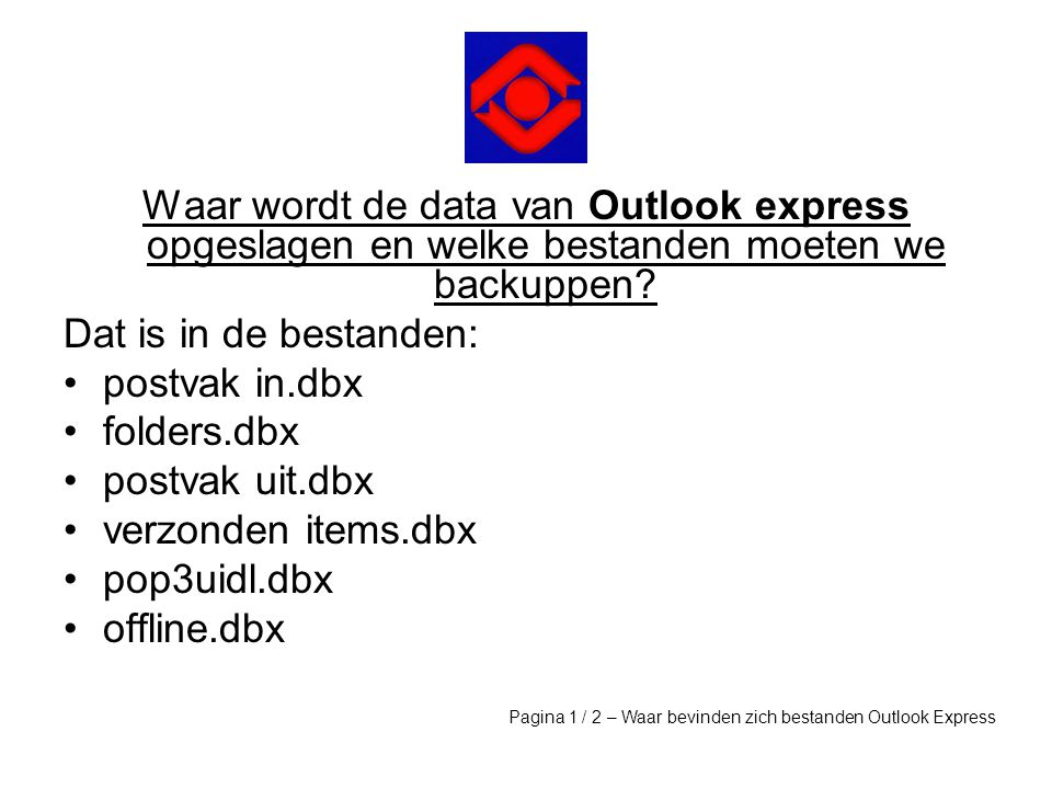 Waar wordt de data van Outlook express opgeslagen en welke bestanden moeten we backuppen
