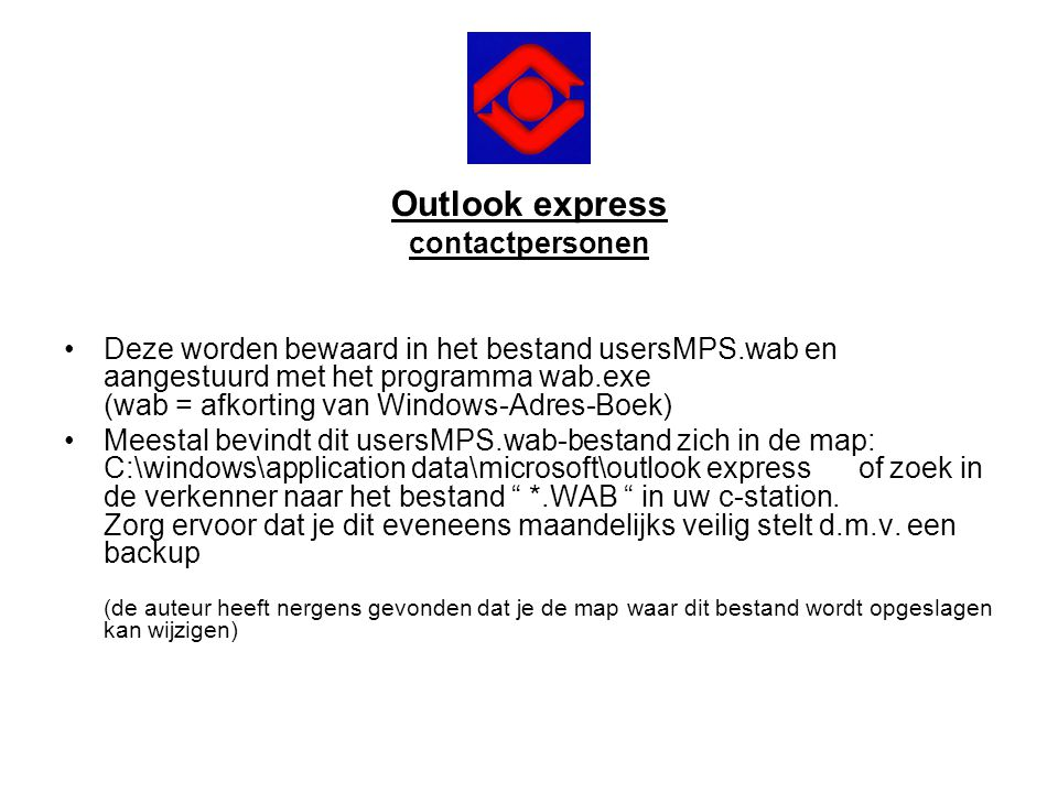 Outlook express contactpersonen