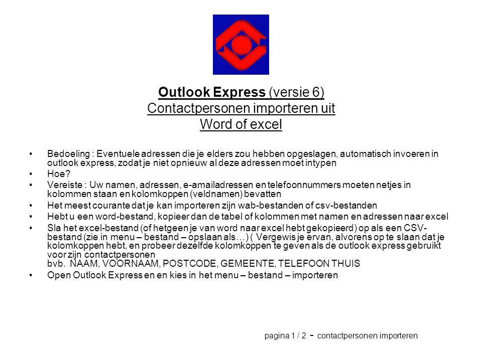 Outlook Express (versie 6) Contactpersonen importeren uit