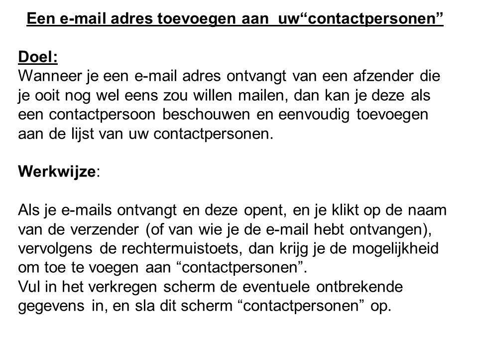 Een e-mail adres toevoegen aan uw contactpersonen