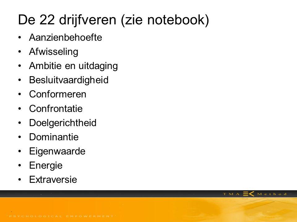 De 22 drijfveren (zie notebook)