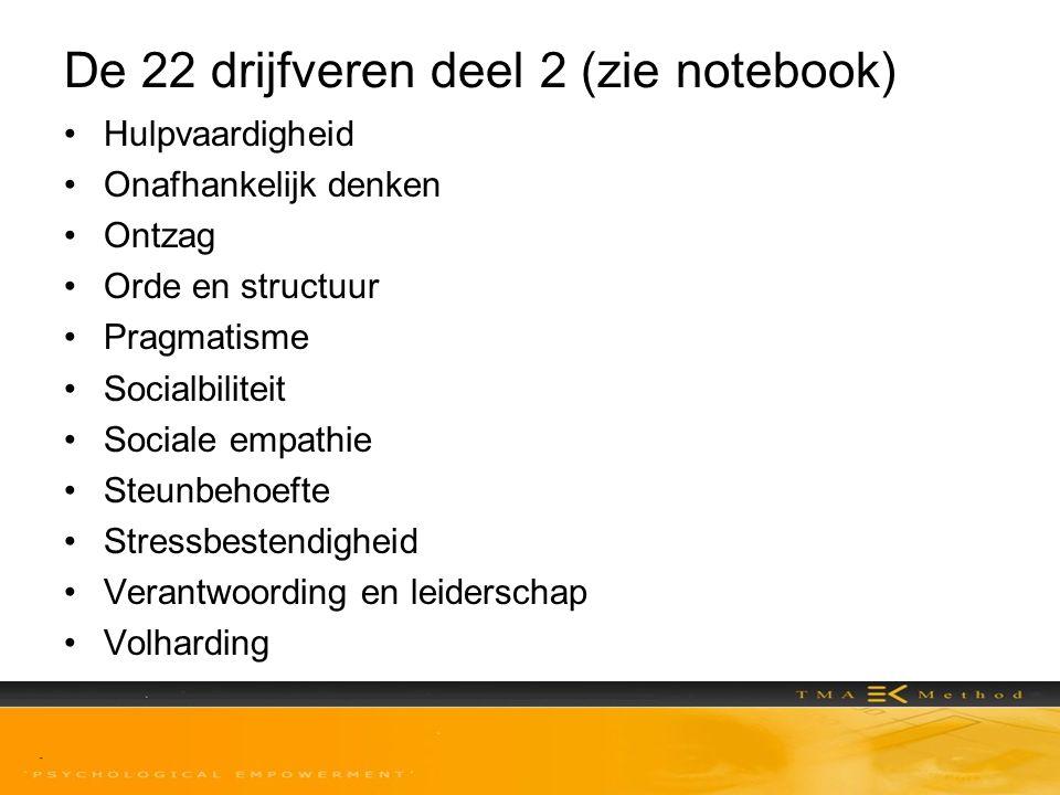 De 22 drijfveren deel 2 (zie notebook)