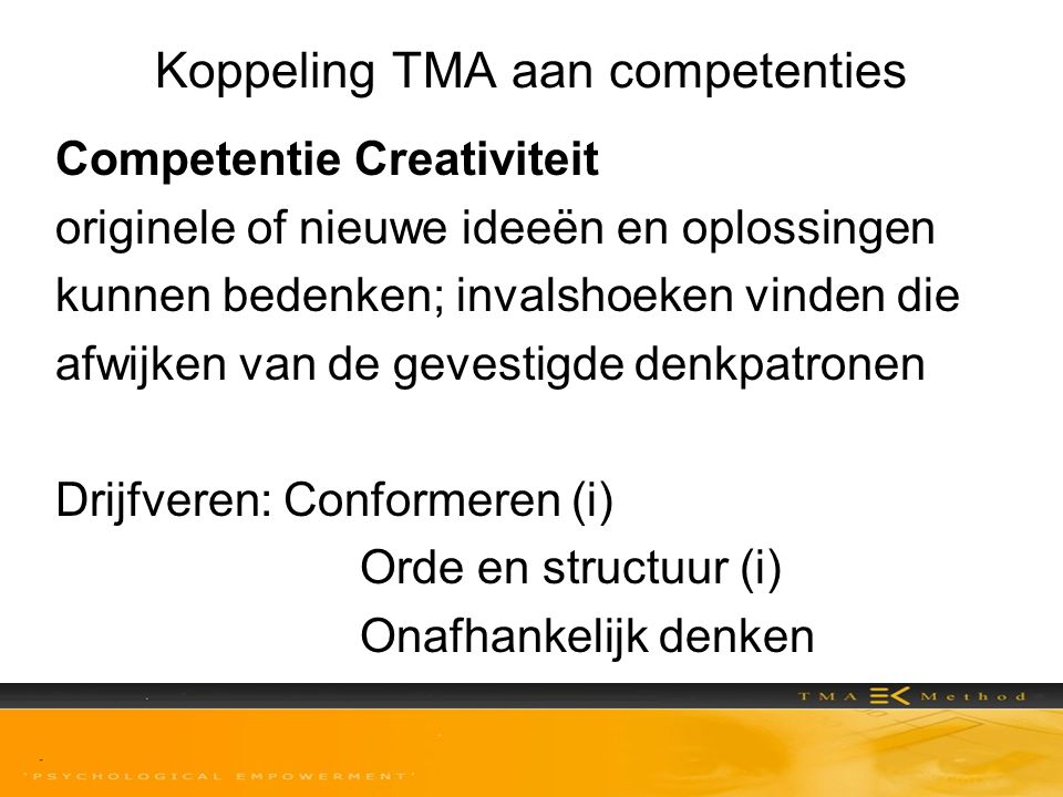 Koppeling TMA aan competenties