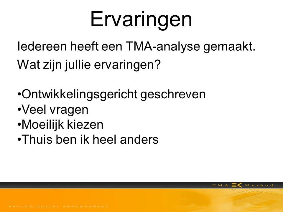 Ervaringen Iedereen heeft een TMA-analyse gemaakt. Wat zijn jullie ervaringen Ontwikkelingsgericht geschreven.
