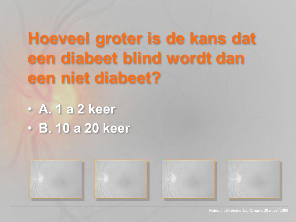 Hoeveel groter is de kans dat een diabeet blind wordt dan een niet diabeet