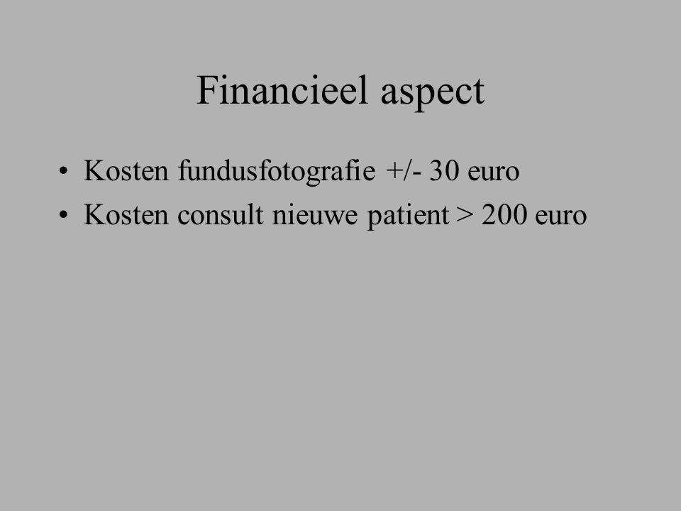 Financieel aspect Kosten fundusfotografie +/- 30 euro