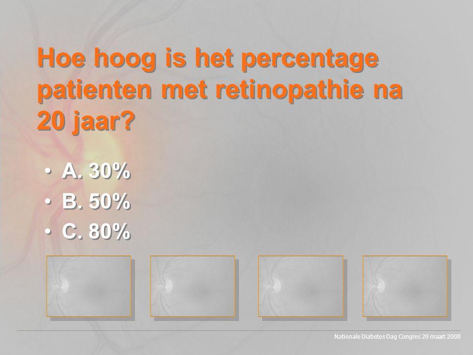 Hoe hoog is het percentage patienten met retinopathie na 20 jaar