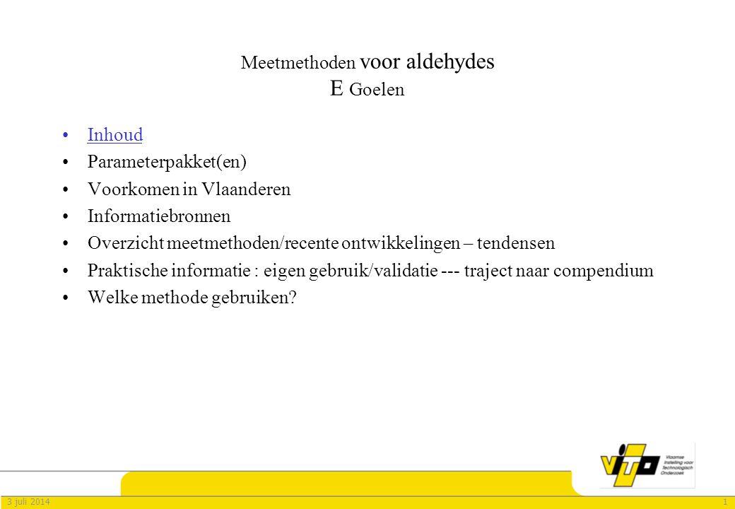 Meetmethoden voor aldehydes E Goelen