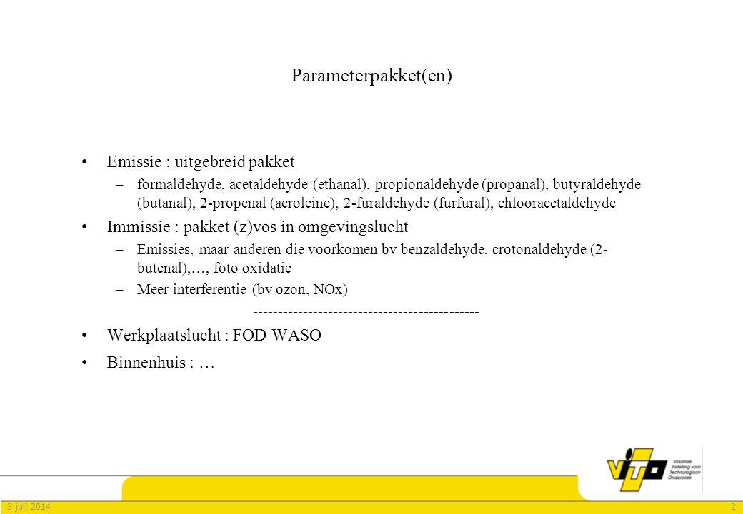 Parameterpakket(en) Emissie : uitgebreid pakket