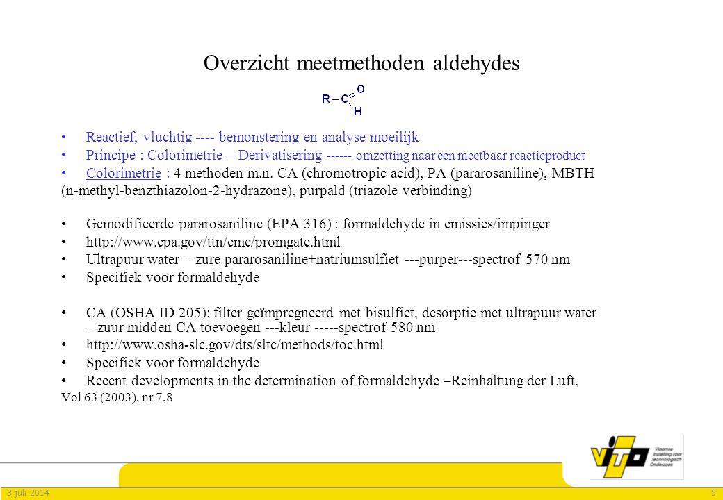 Overzicht meetmethoden aldehydes
