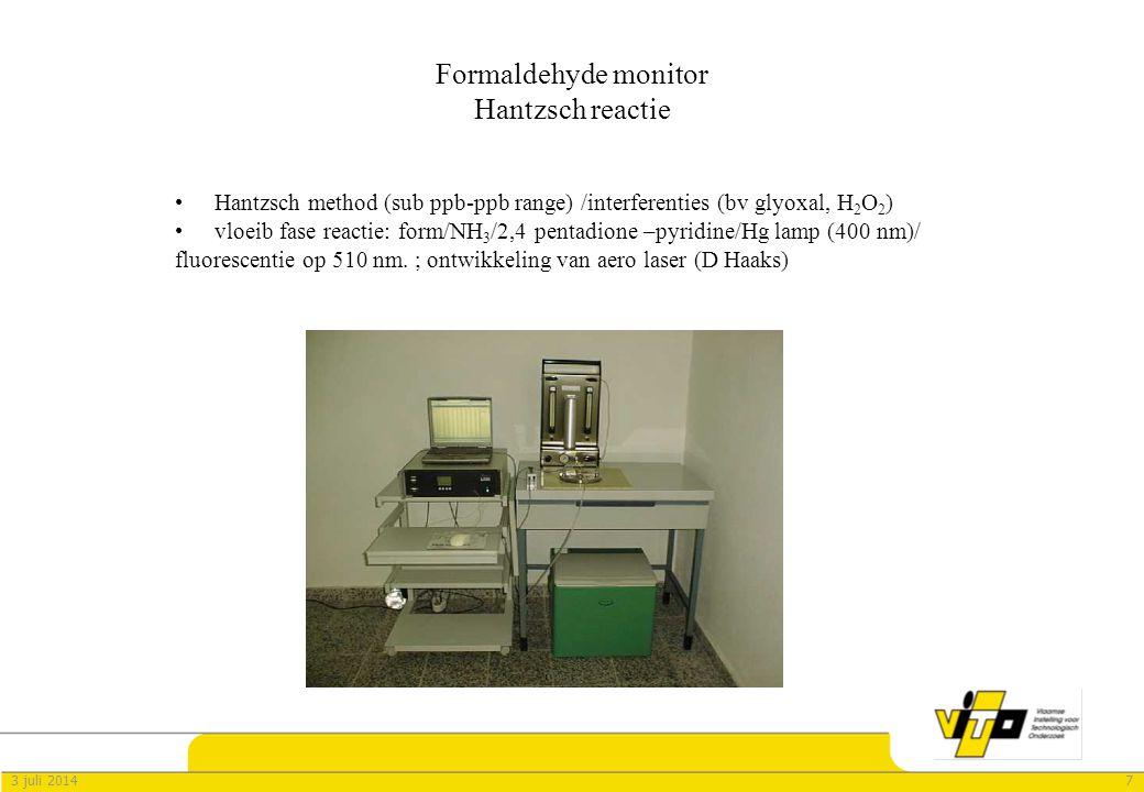 Formaldehyde monitor Hantzsch reactie