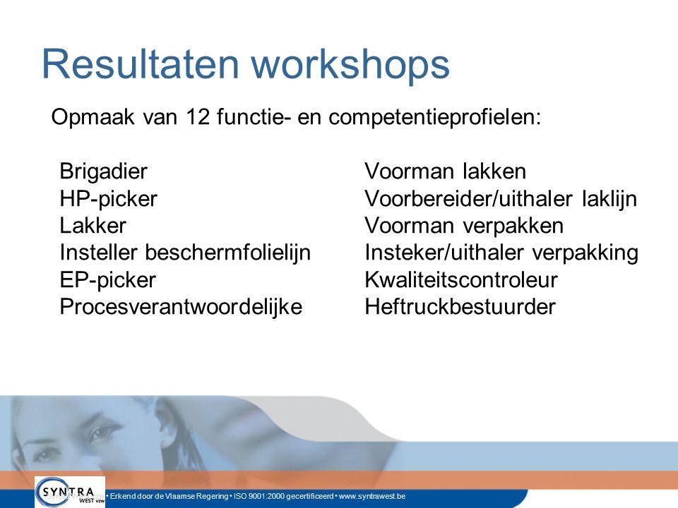 Resultaten workshops Opmaak van 12 functie- en competentieprofielen: