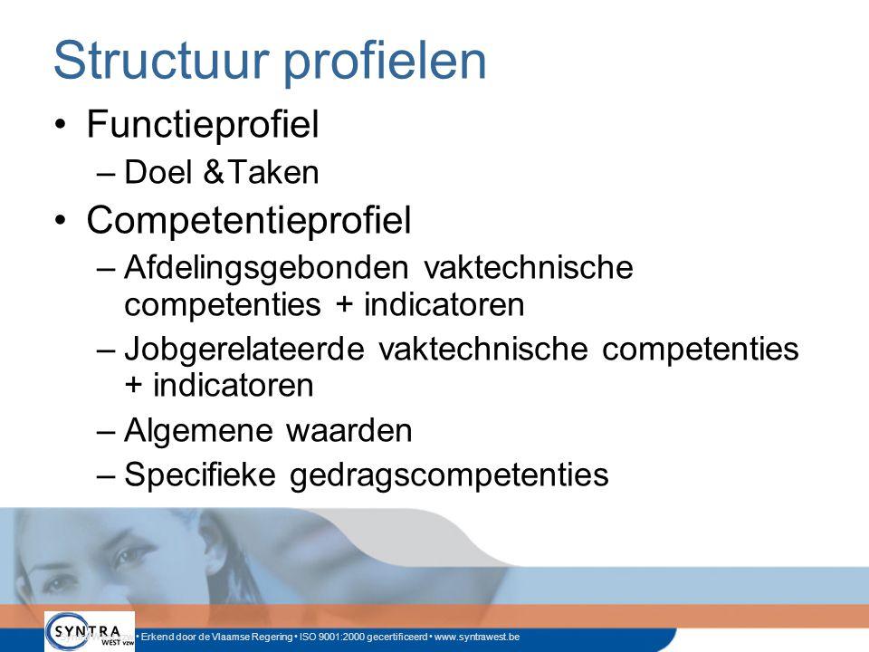Structuur profielen Functieprofiel Competentieprofiel Doel & Taken