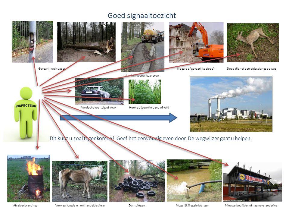 Goed signaaltoezicht Gevaarlijke situaties. Illegale of gevaarlijke sloop Dood dier of een object langs de weg.