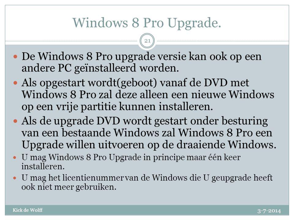 Windows 8 Pro Upgrade. De Windows 8 Pro upgrade versie kan ook op een andere PC geïnstalleerd worden.