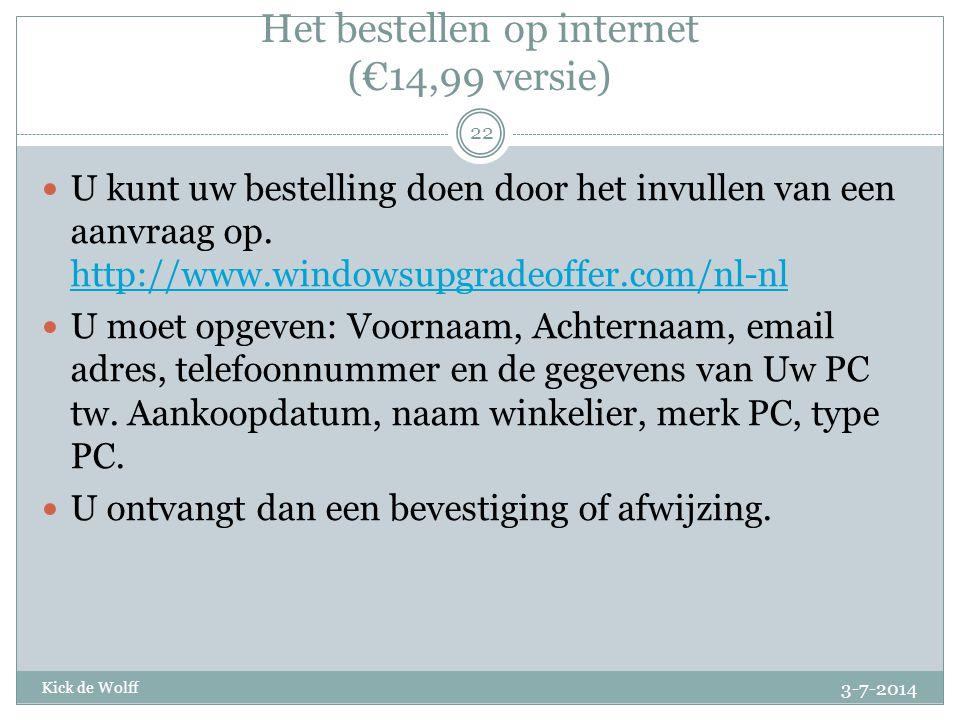 Het bestellen op internet (€14,99 versie)