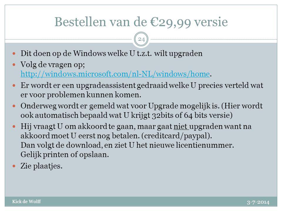 Bestellen van de €29,99 versie
