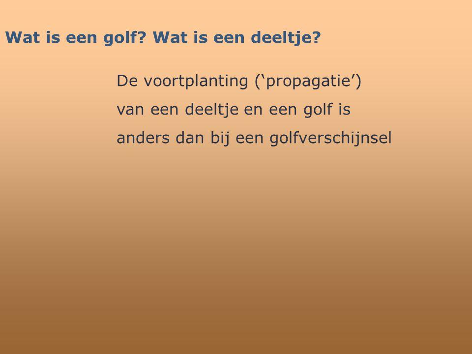 Wat is een golf Wat is een deeltje