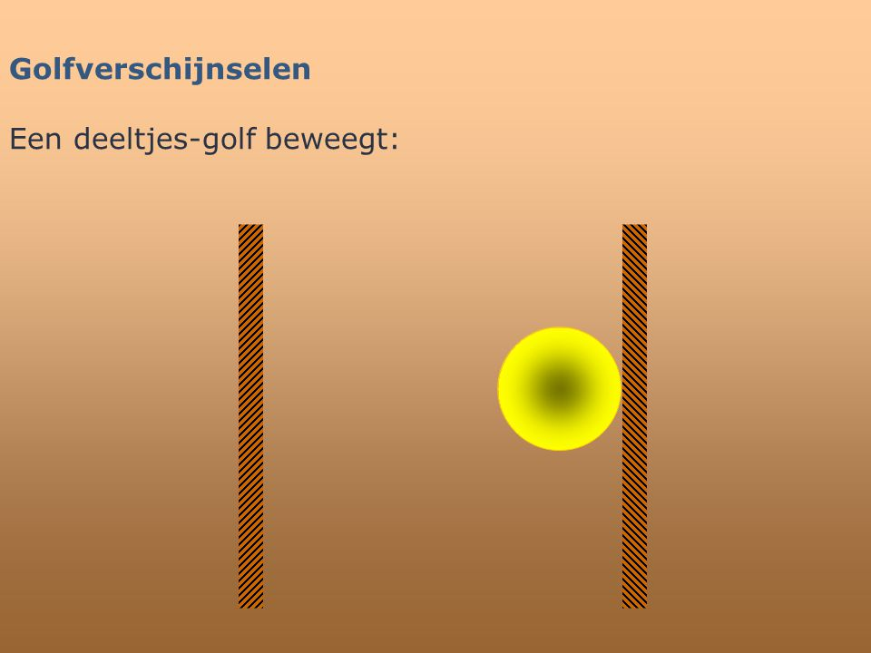 Golfverschijnselen Een deeltjes-golf beweegt: