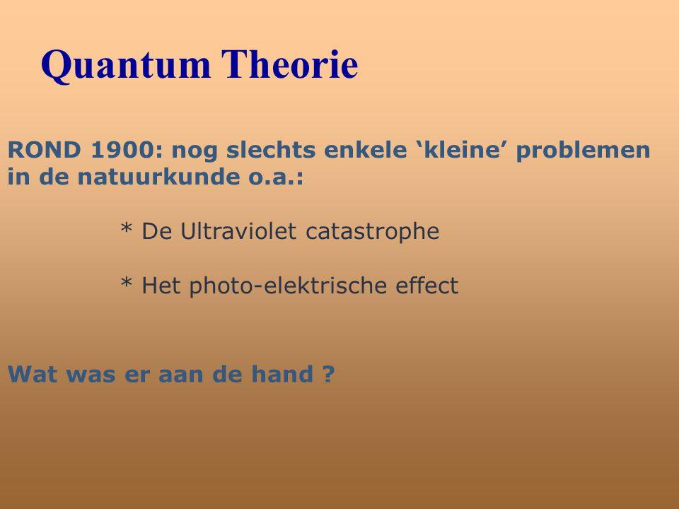Quantum Theorie ROND 1900: nog slechts enkele 'kleine' problemen in de natuurkunde o.a.: * De Ultraviolet catastrophe.