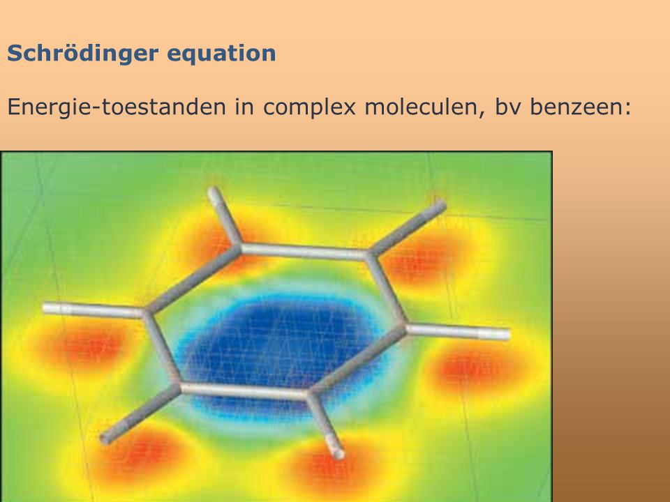 Schrödinger equation Energie-toestanden in complex moleculen, bv benzeen: