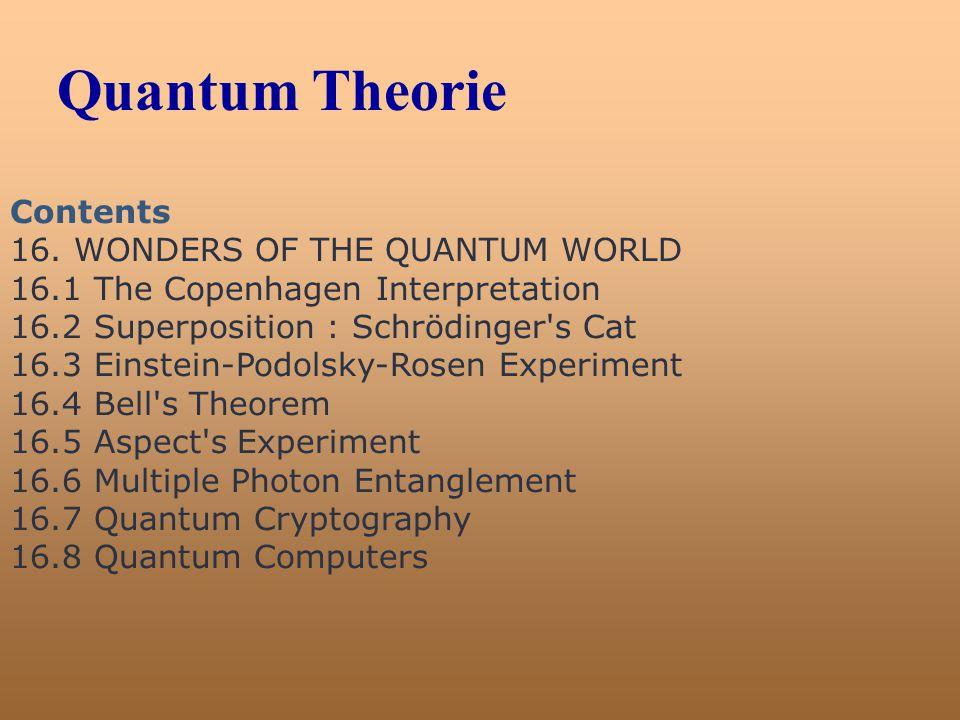 Quantum Theorie Contents 16. WONDERS OF THE QUANTUM WORLD