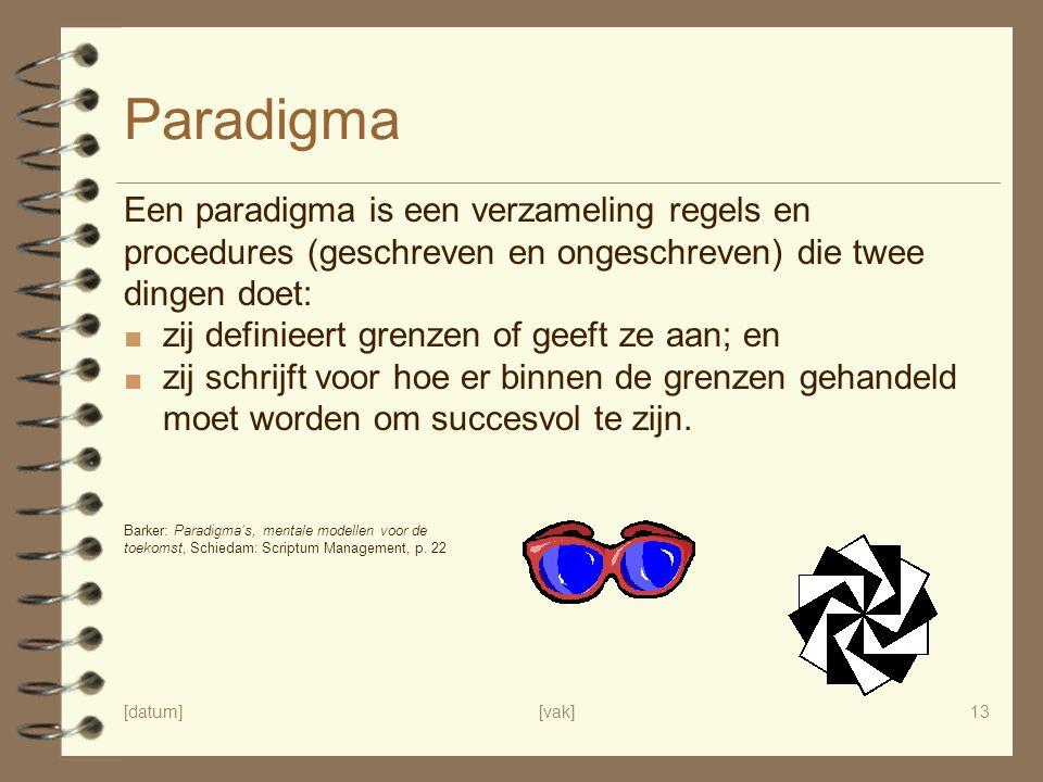 Paradigma Een paradigma is een verzameling regels en