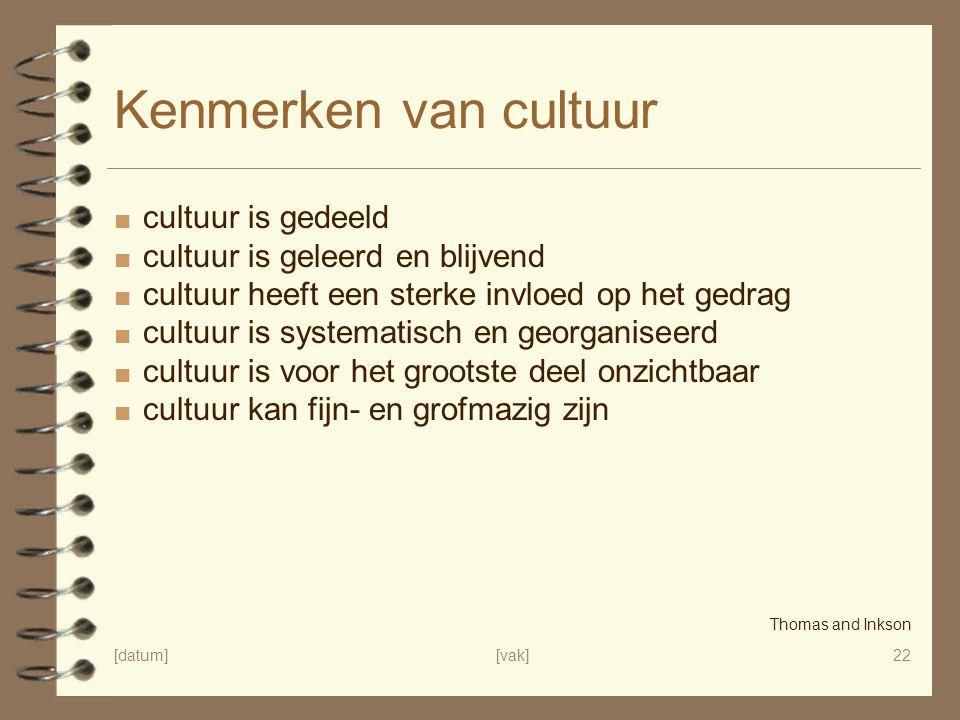Kenmerken van cultuur cultuur is gedeeld
