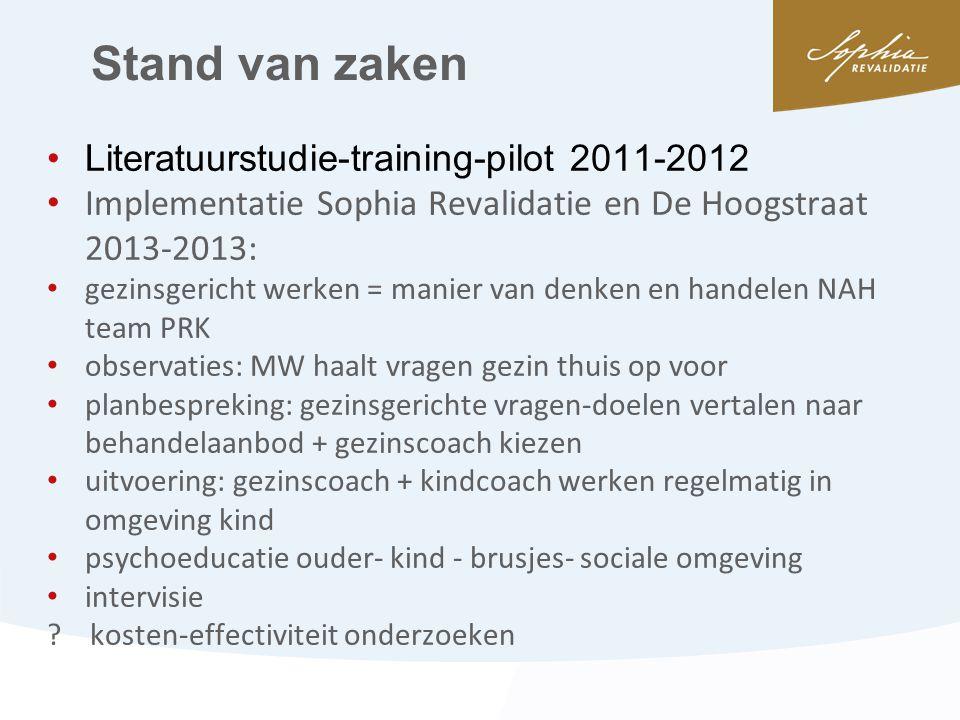 Stand van zaken Literatuurstudie-training-pilot 2011-2012