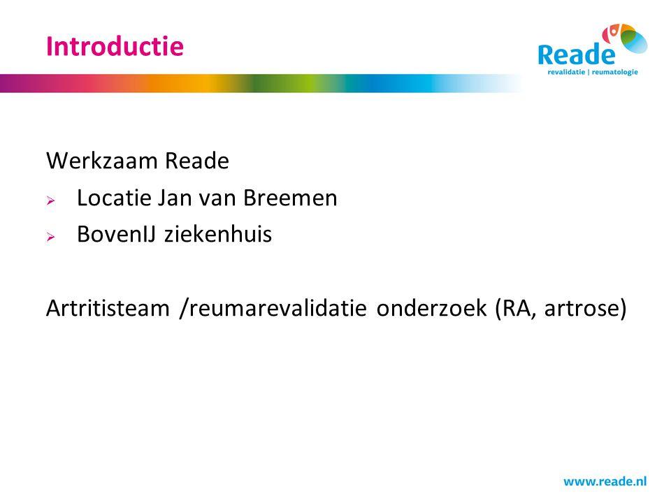 Introductie Werkzaam Reade Locatie Jan van Breemen BovenIJ ziekenhuis