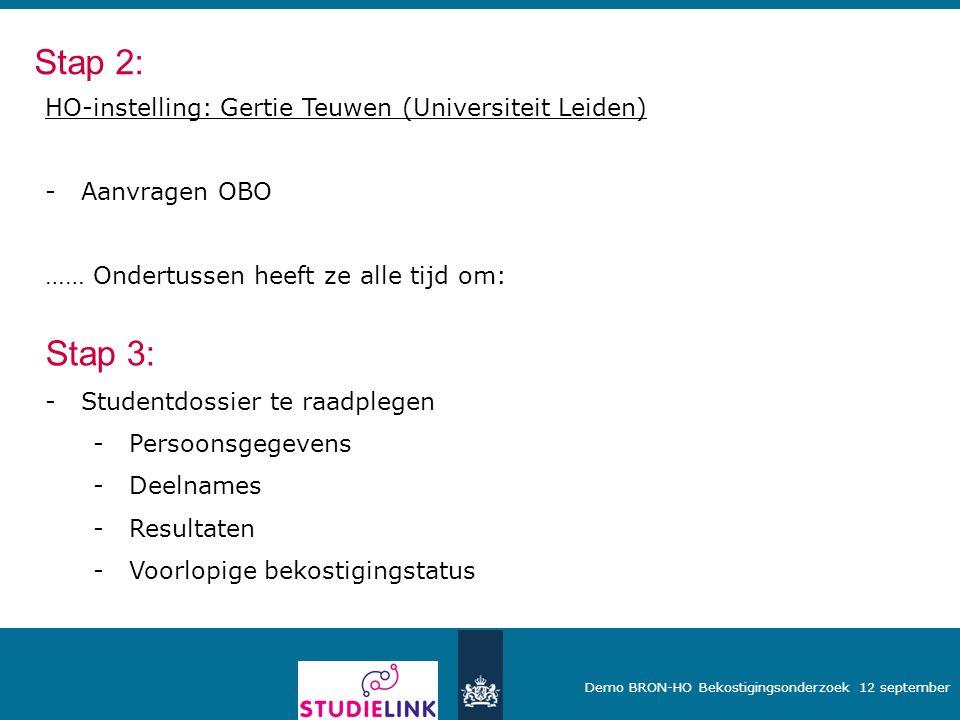 Stap 2: Stap 3: HO-instelling: Gertie Teuwen (Universiteit Leiden)