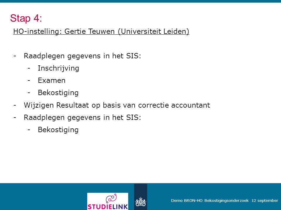 Stap 4: HO-instelling: Gertie Teuwen (Universiteit Leiden)